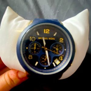 Michael Kors Navy blue & gold silicone watch